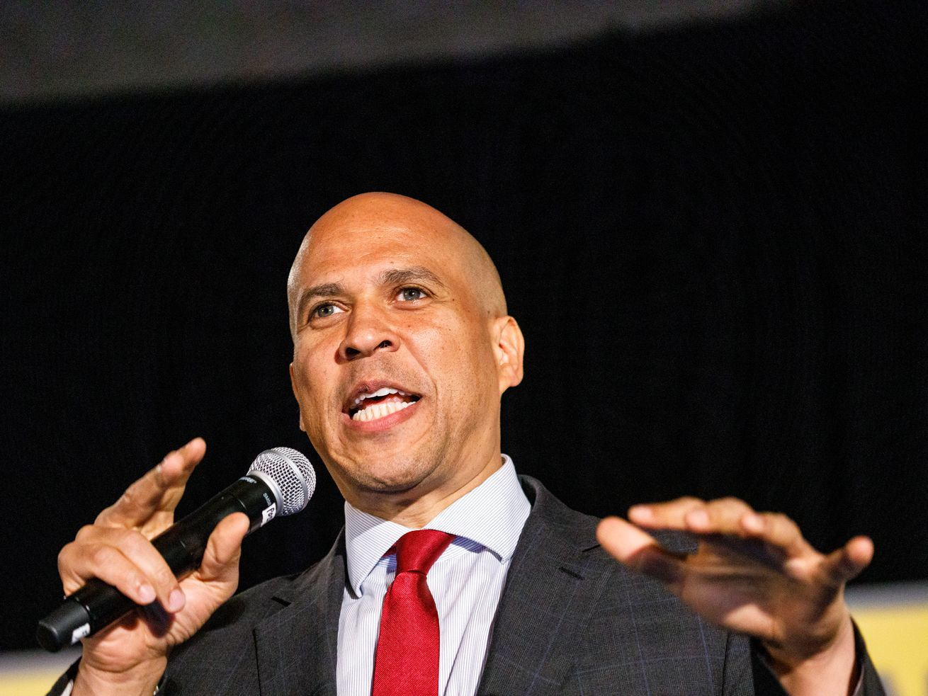 Democratic presidential candidate Sen. Cory Booker (D-NJ) speaks to a crowd at the African American Leadership Council on June 6, 2019 in Atlanta, Georgia.