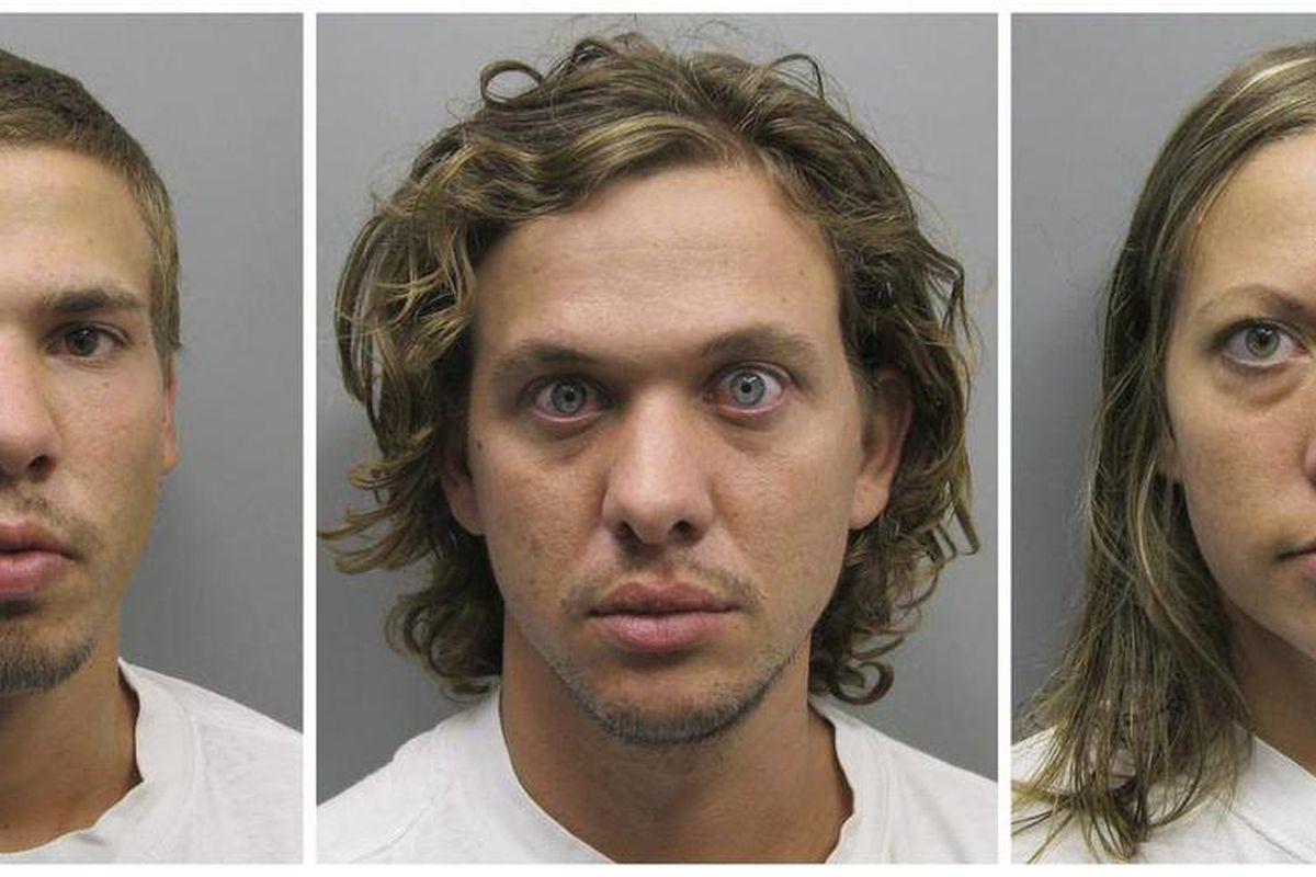 FILE - This photo combo made from file photos provided Wednesday, Aug. 10, 2011 by the Pueblo County Sheriff's Office shows, from left, Ryan Edward Dougherty, 21, Dylan Stanley-Dougherty, 26, and Lee Grace Dougherty, 29. Three Florida siblings accused of