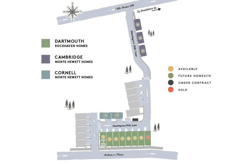 A graphic of townhomes shown from above.