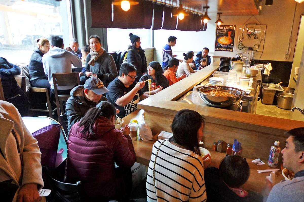 The ramen counter is mobbed on the weekends.