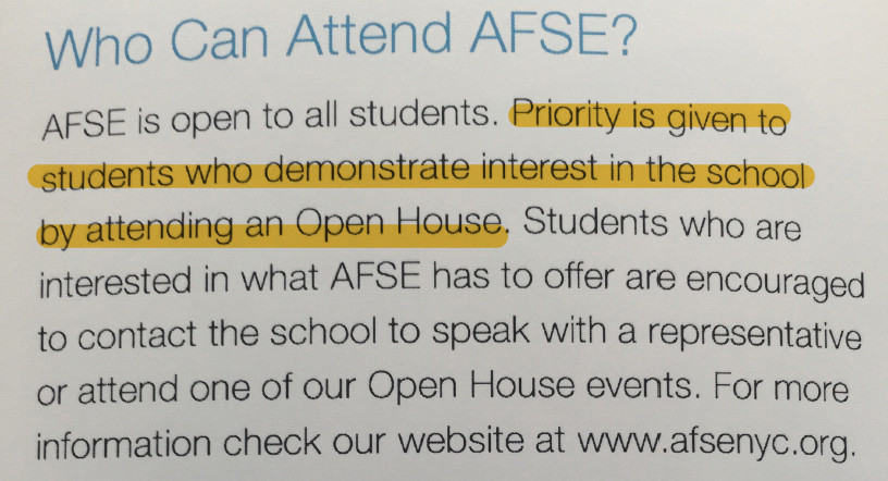 The Academy for Software Engineering flyer passed out at last weekend's high school fair.