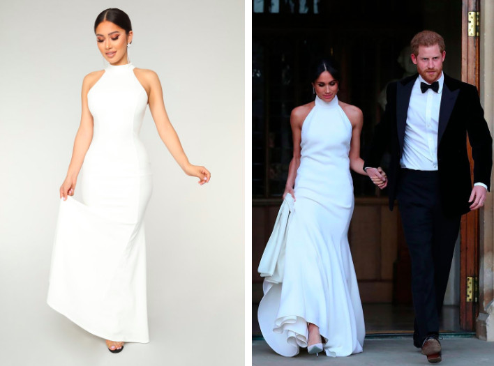 1ff14d939c4cd Fashion Nova knocked off Meghan Markle's wedding reception dress and posted  a side-by-side comparison. Fashion Nova