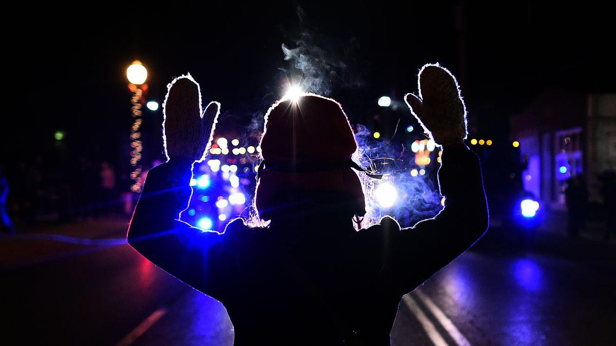 A protester in Ferguson, Missouri.