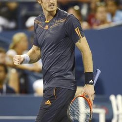 Andy Murray of Great Britain pumps his fist during his win over Marin Cilic, of Croatia, in the quarterfinals of the 2012 US Open tennis tournament, Wednesday, Sept. 5, 2012, in New York.