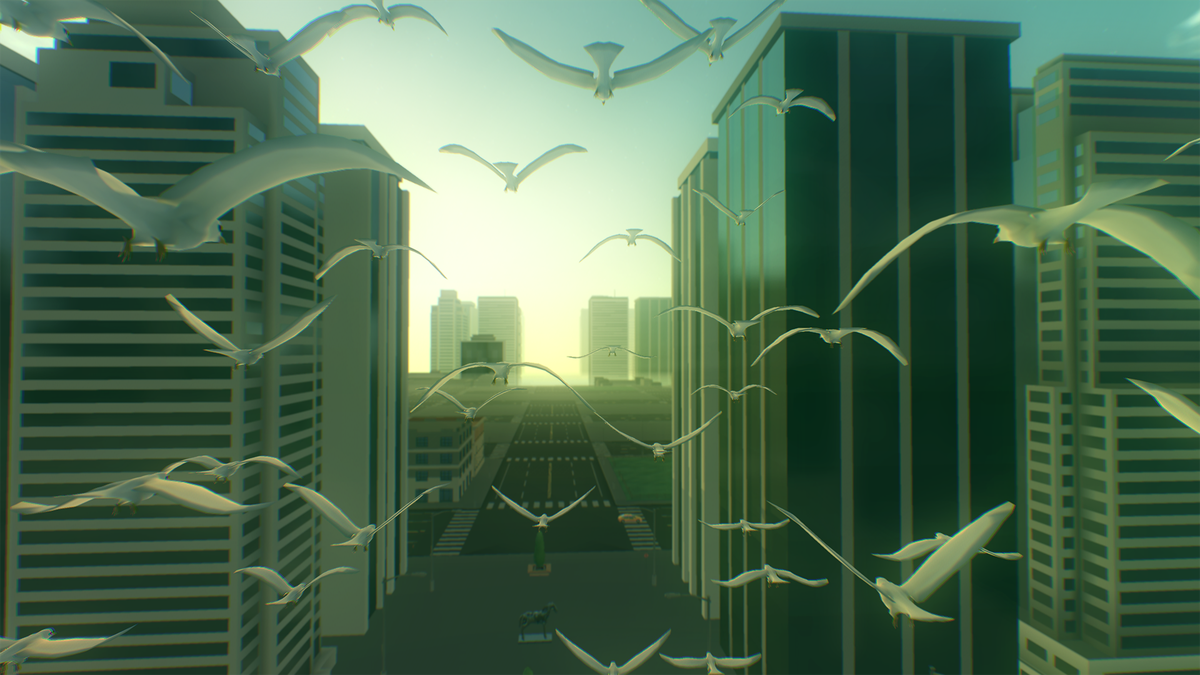 Birds in a city in Everything