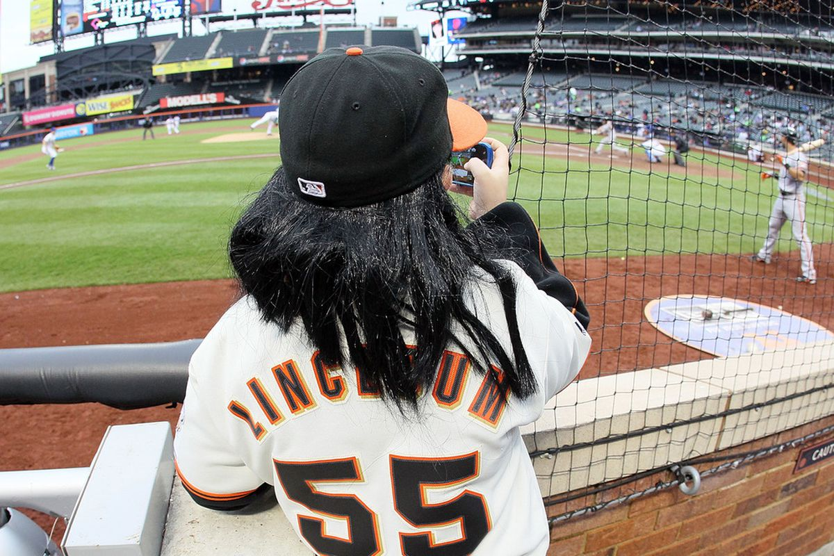 Tim Lincecum pitched about as well as this pint-sized doppelganger would have, but the Mets still couldn't take advantage. (Photo by Jim McIsaac/Getty Images)