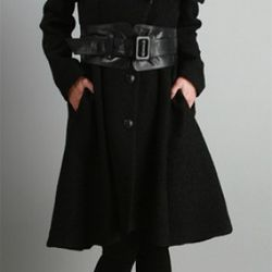 Doreen Belted Swing Coat, Mackage, $730<br />Mackage makes the most exquisite outerwear we've ever come across. The 'Doreen' coat is a perfect example. Dramatic fold over collar with specialty buttons down the front and a swingy hem. Staggeringly cool lea