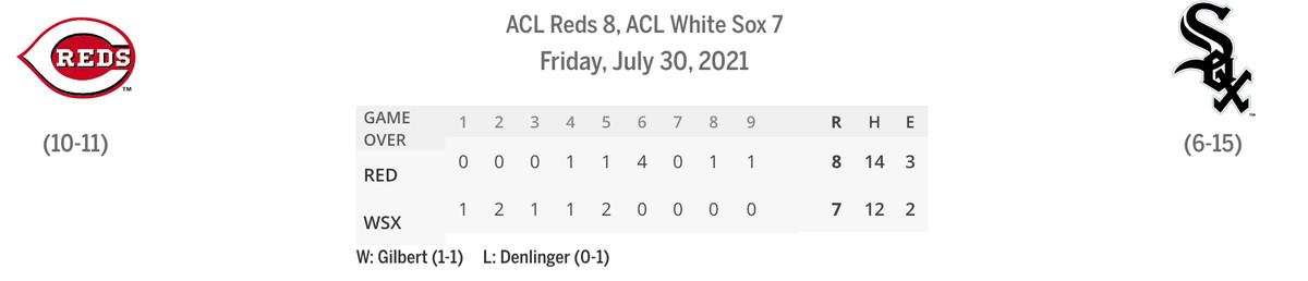 Reds/Sox linescore