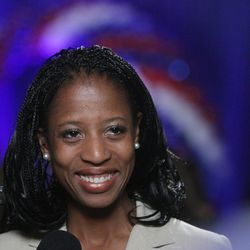 Republican 4th Congressional District candidate Mia Love is interviewed by the media at the Hilton  in Salt Lake City  Tuesday, Nov. 6, 2012.