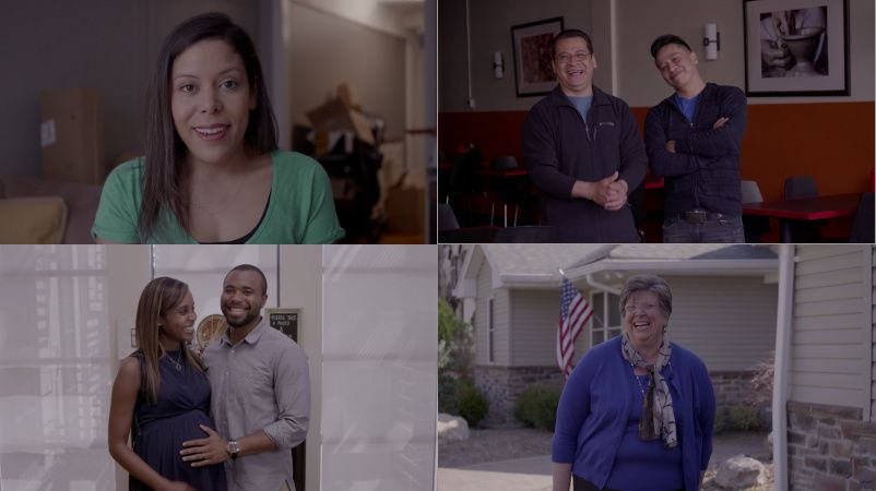 An assortment of people in the Hillary Clinton ad.