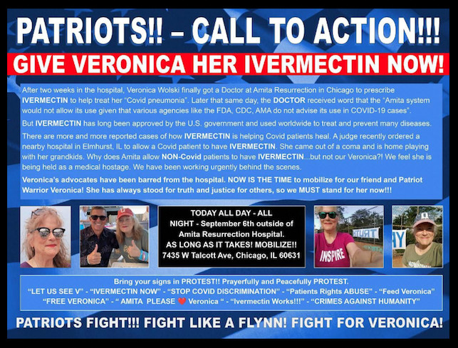 A social media post demanding that a hospital treat Veronica Wolski with ivermectin, a drug that has not been shown effective against, or approved for, COVID-19. | Screenshot
