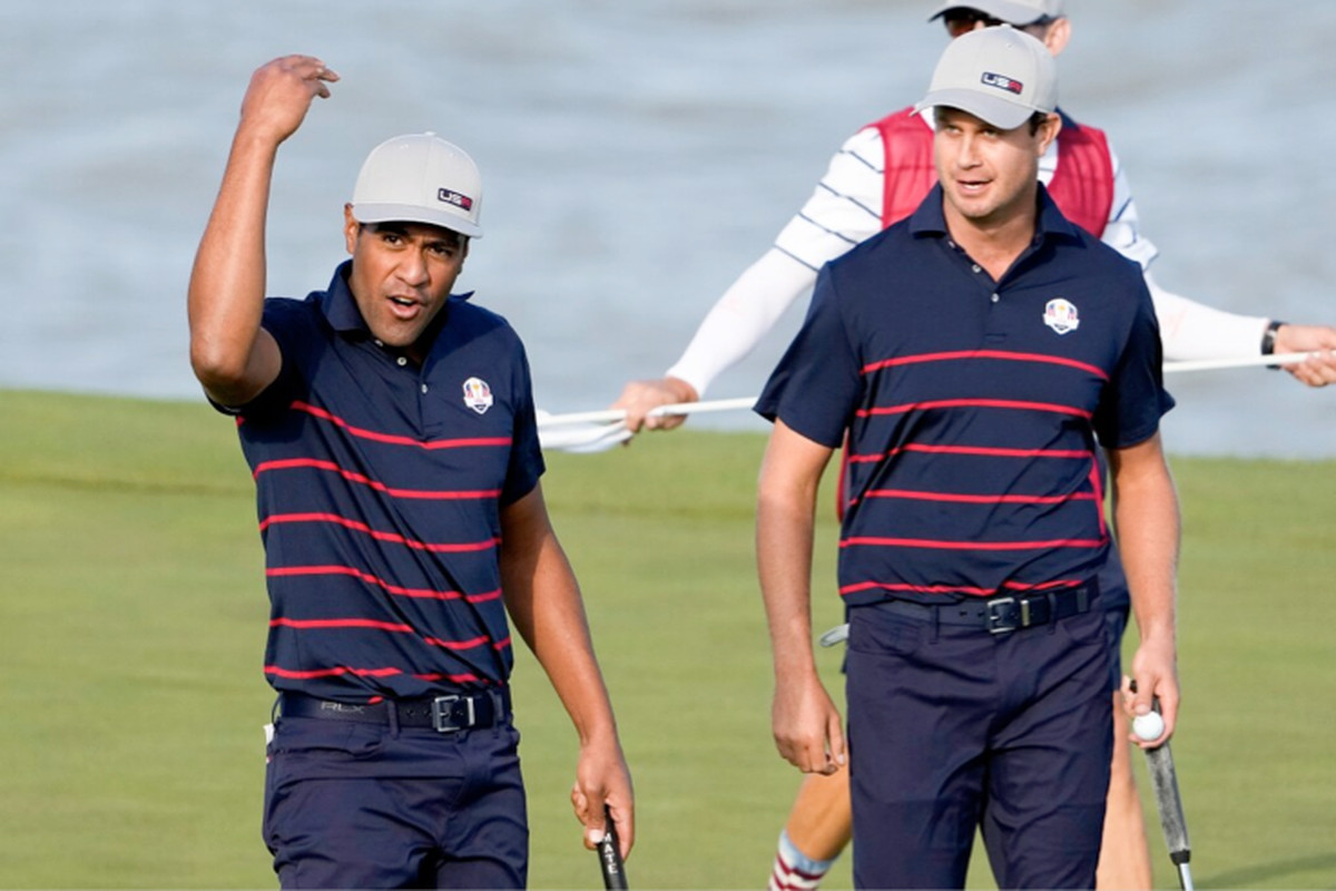 Team USA's Tony Finau celebrates after making a putt on the 13th hole during a four-ball match Friday at the Ryder Cup at the Whistling Straits Golf Course in Sheboygan, Wis.