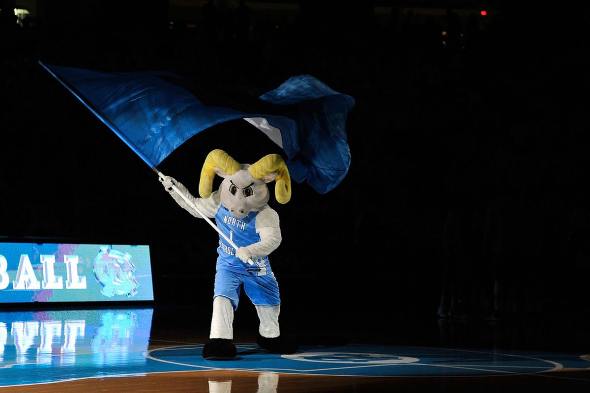 Rameses, the North Carolina Tar Heels mascot, performs during a game against the Nicholls State Colonels at the Dean Smith Center.