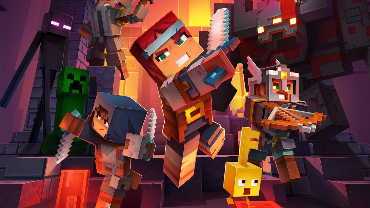 artwork with a selection of heroes and enemies from Minecraft Dungeons