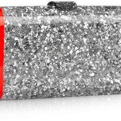 "Edie Parker 'Lara' confetti clutch, <a href=""http://www.bergdorfgoodman.com/Edie-Parker-Lara-Backlit-Confetti-Clutch-Bag-Metallic-Gray-Shop-All-Handbags/prod98710023_cat428607__/p.prod?icid=&searchType=EndecaDrivenCat&rte=%252Fcategory.jsp%253FitemId%253D"
