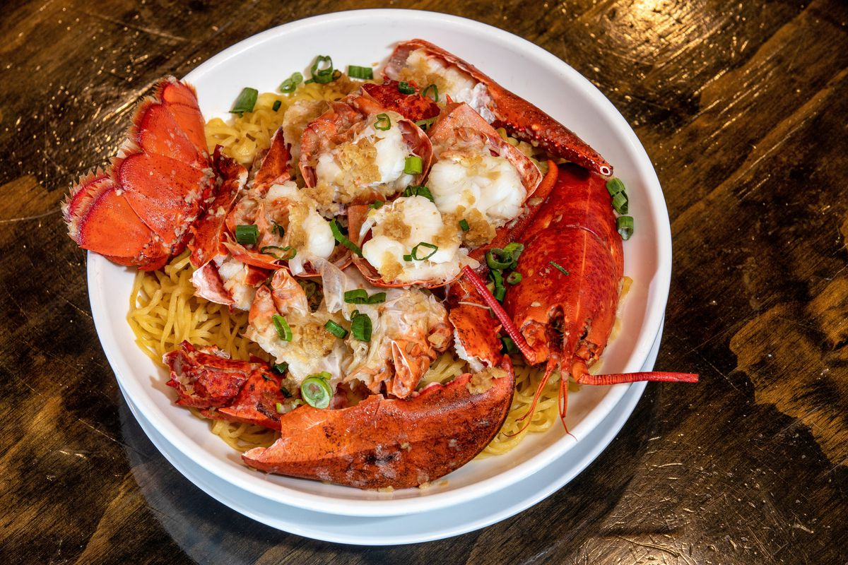 bowl with lobster and noodles