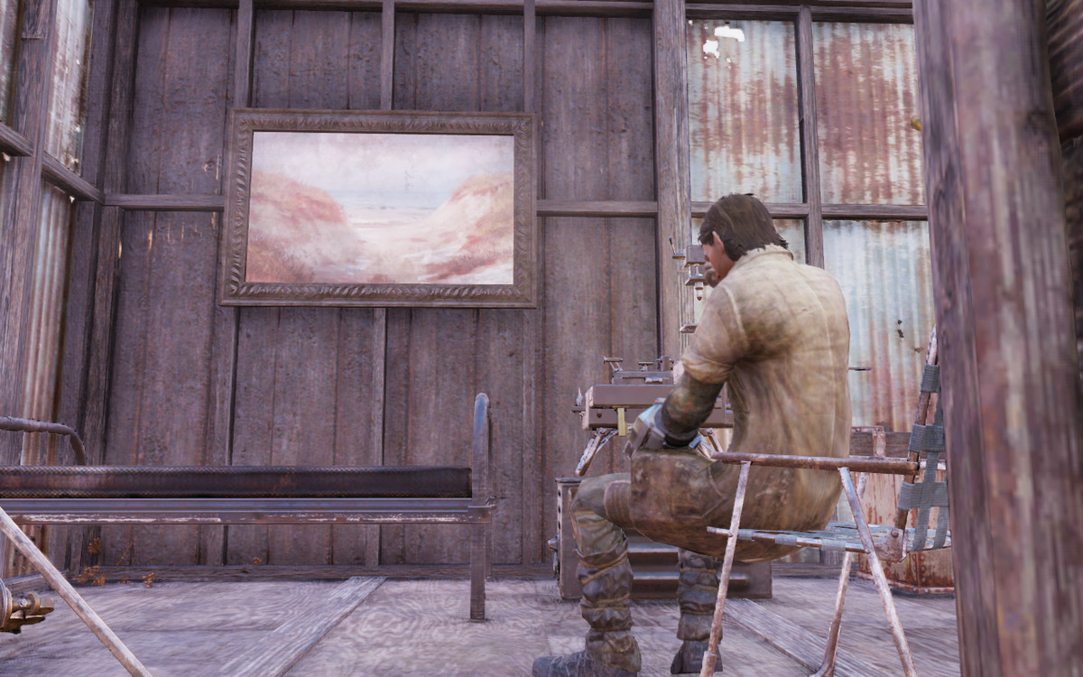 Fallout 76 - guy sitting alone in shack