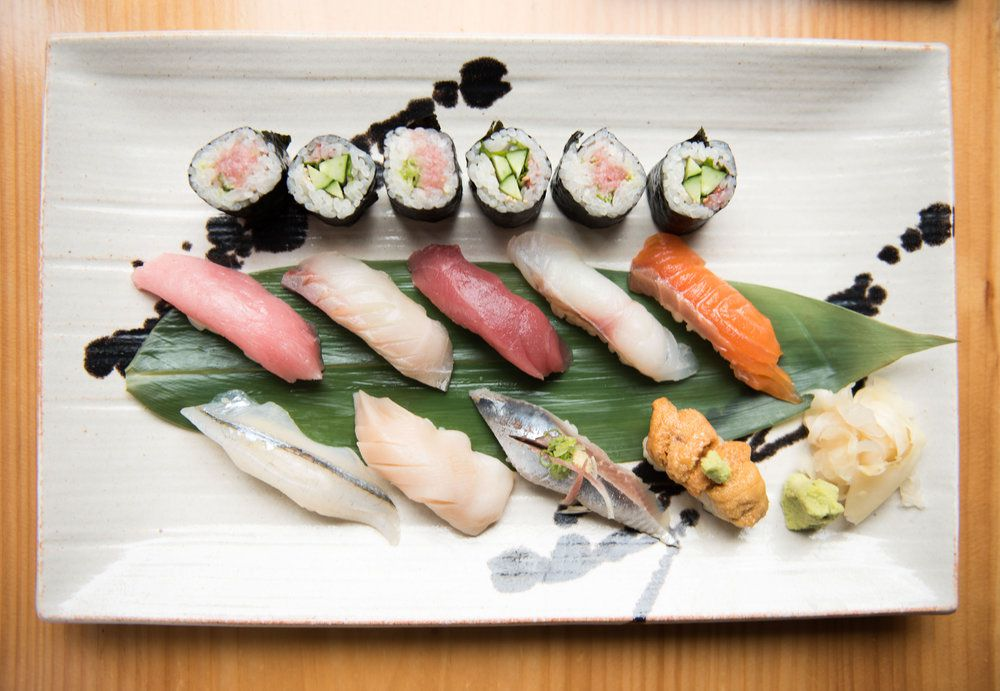 A plate of various pieces of sushi