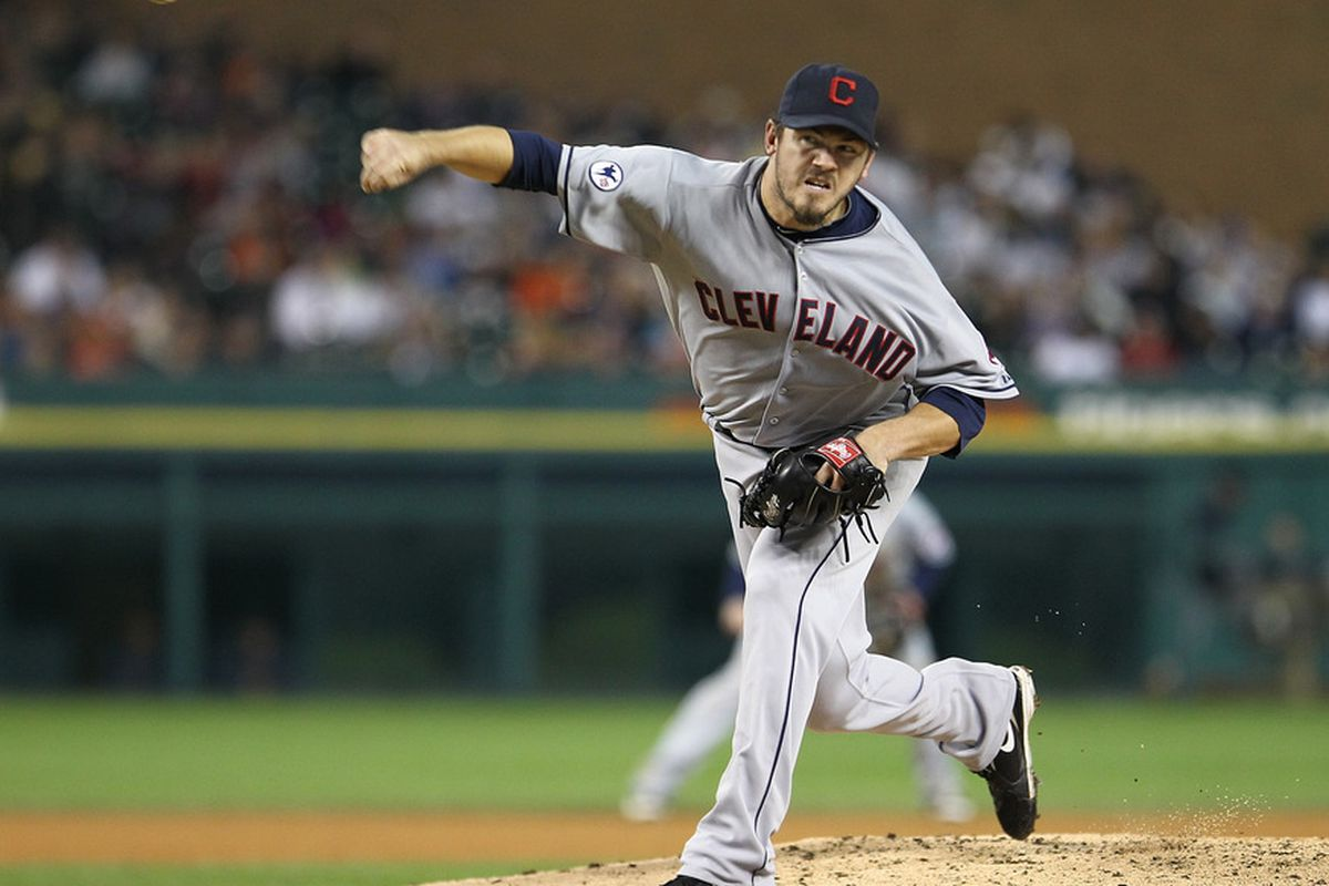 DETROIT, MI - SEPTEMBER 27:  Relief pitcher Chad Durbin #37 of the Cleveland Indian throws the baseball against the Detroit Tigers during a MLB game at Comerica Park on September 27, 2011 in Detroit, Michigan.  (Photo by Dave Reginek/Getty Images)