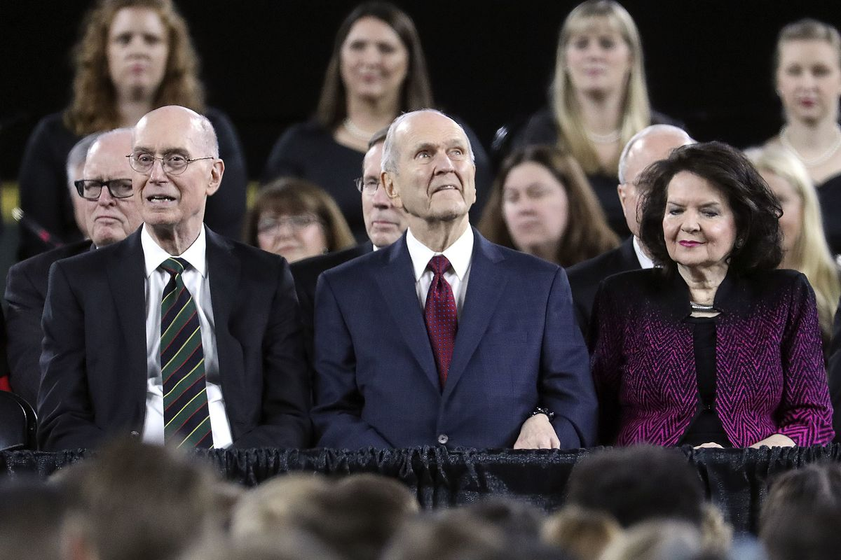 President Henry B. Eyring, President Russell M. Nelson and Sister Wendy Nelson listen to the choir sing before speaking at Safeco Field in Seattle, Wash., on Saturday, Sept. 15, 2018.