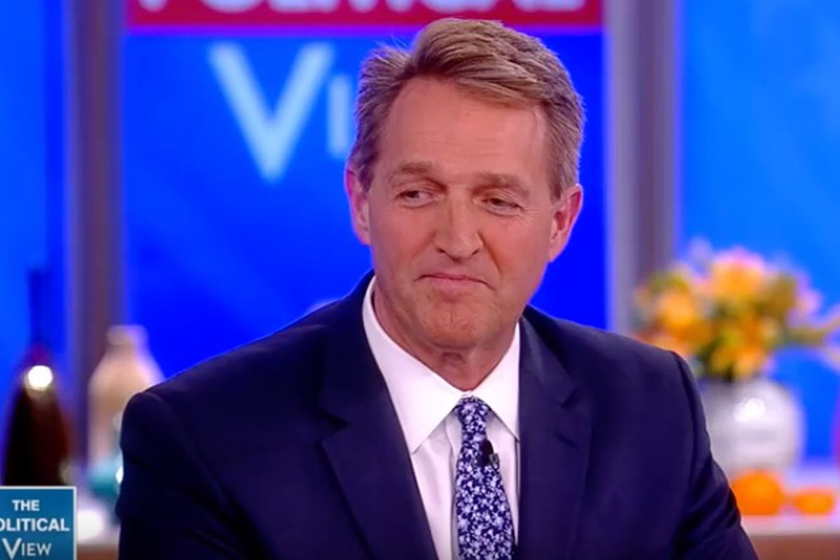 """Arizona Sen. Jeff Flake told the hosts of """"The View"""" on Tuesday that he wasn't sure he believed Supreme Court Justice Brett Kavanaugh or Dr. Christine Blasey Ford."""