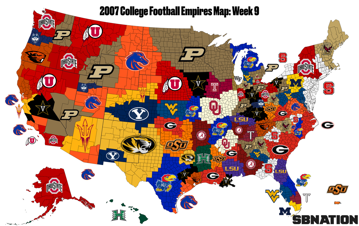 united states college football map 2007 college football: Empires Map guide to the wildest season