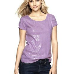 """<a href=""""http://www.gap.com/browse/product.do?pid=350782002"""">Mini-Stripe Sequin Tee</a>, $29.95 at Gap."""