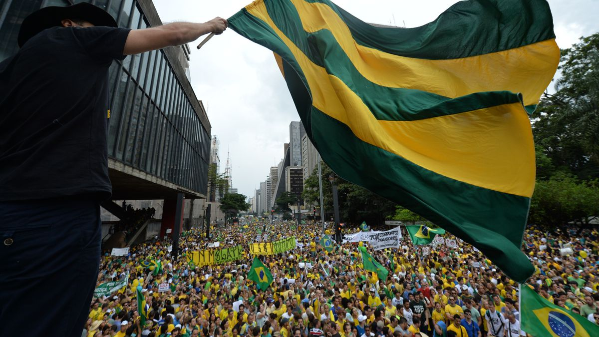 Demonstrators protest in Sao Paolo.