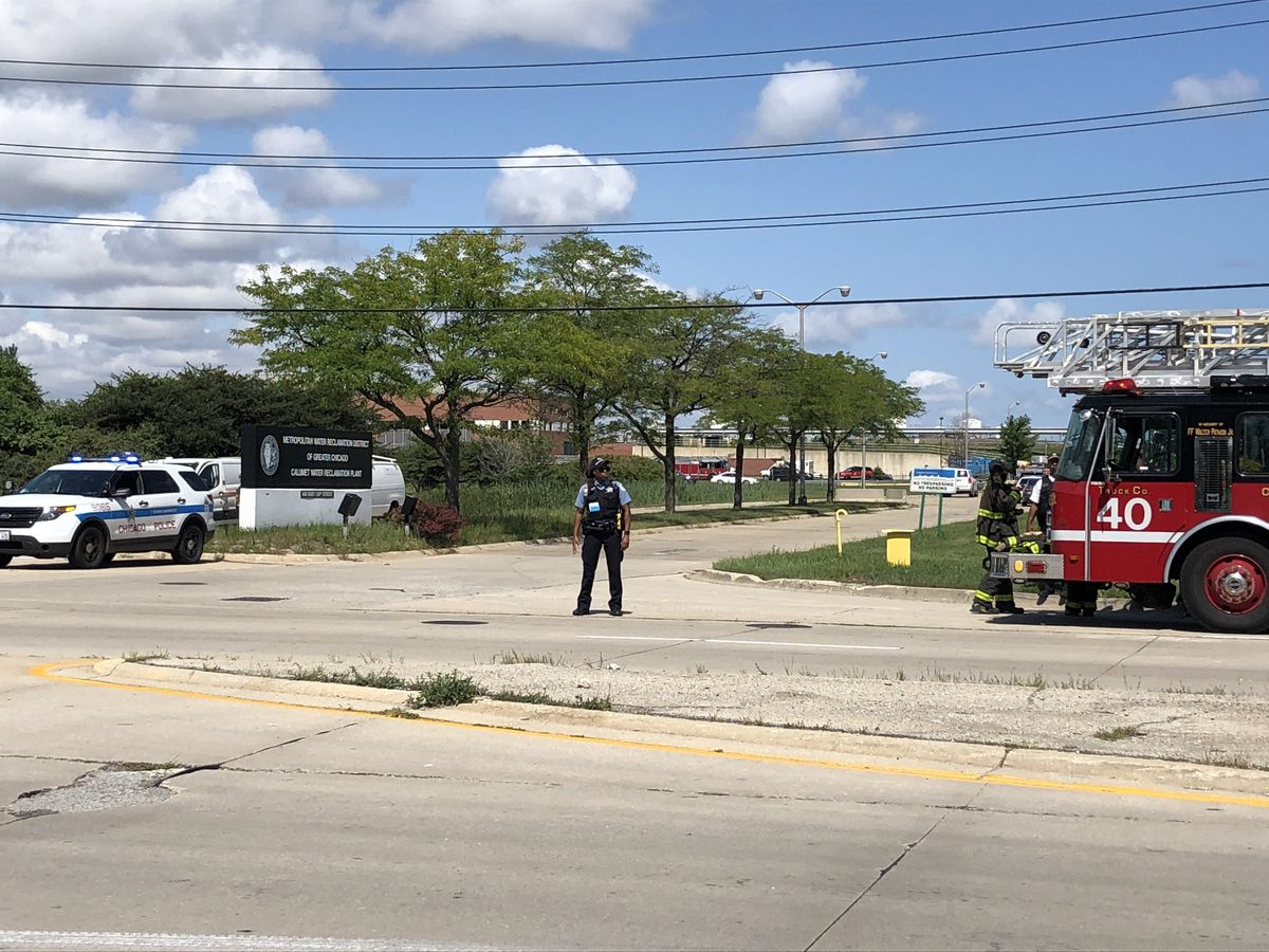Authorities were at the scene of an explosion that caused a building collapse shortly before 11 a.m. Thursday at the Calumet Water Reclamation Plant, 400 W. 130th St. | Jane Recker/Sun-Times