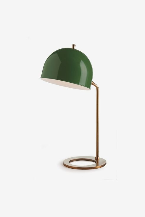 Short lamp with ring-shaped base and green cup-like shade.
