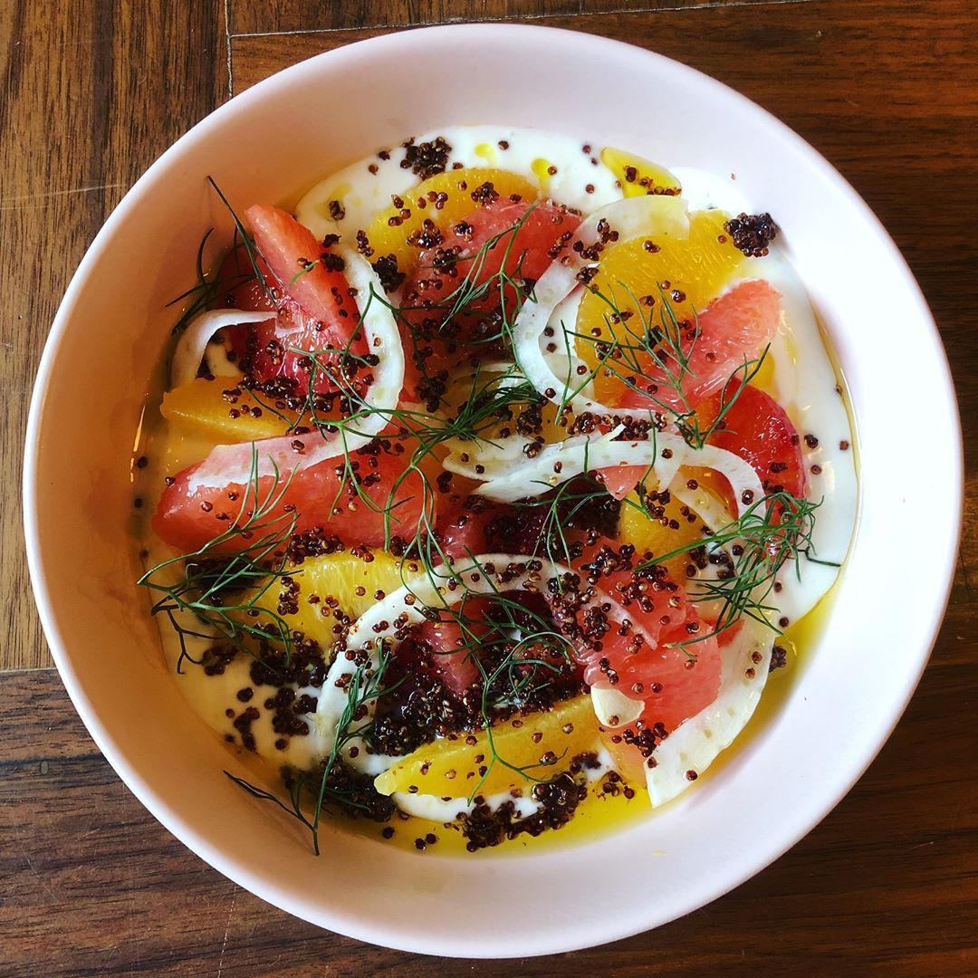 Winter citrus with salted yogurt, fennel, and crispy quinoa at Hunky Dory
