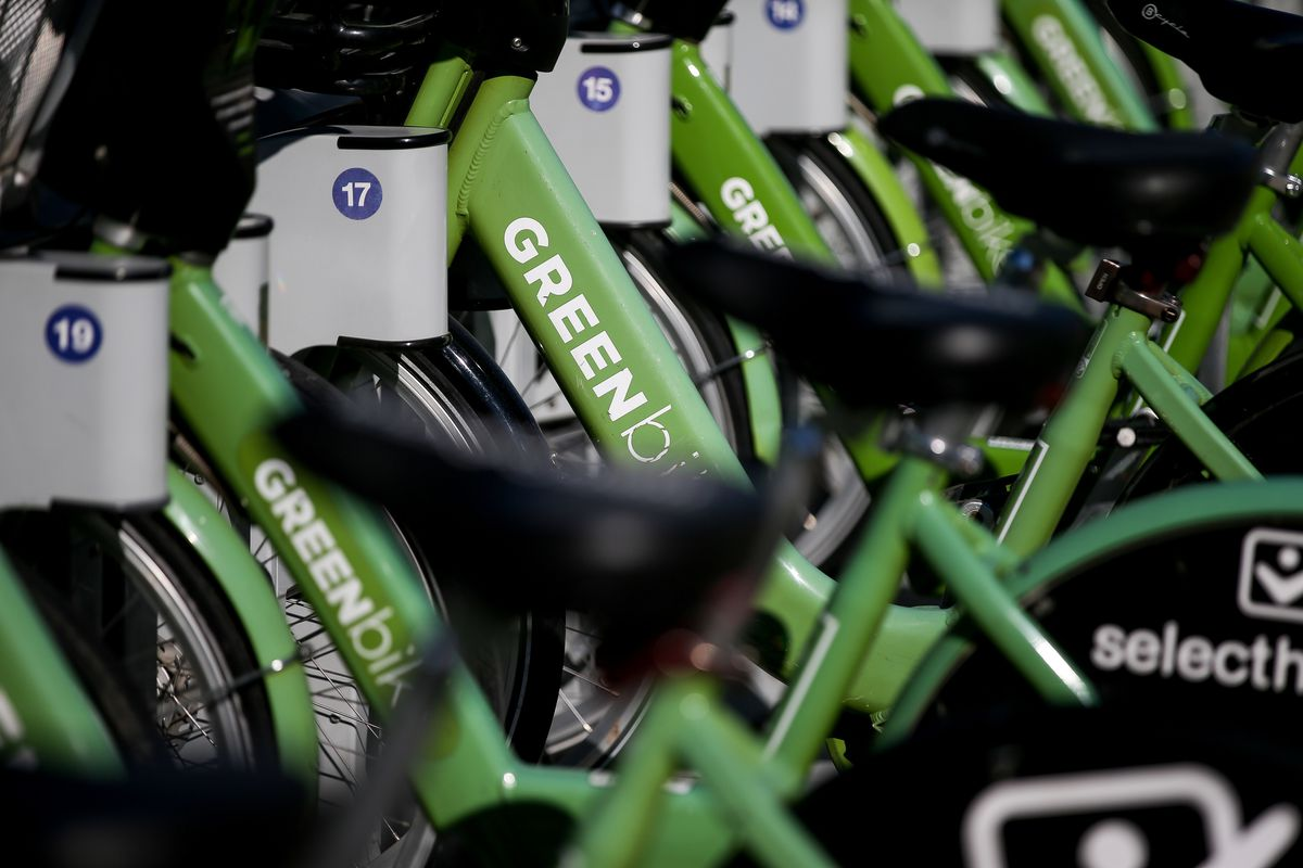 GREENbikes are parked at the Utah Transit Authority's Salt Lake Central Station in Salt Lake City on Wednesday, Oct. 24, 2018. The city announced the introduction of free GREENbike memberships for those with a Hive Pass, a discounted UTA pass available to