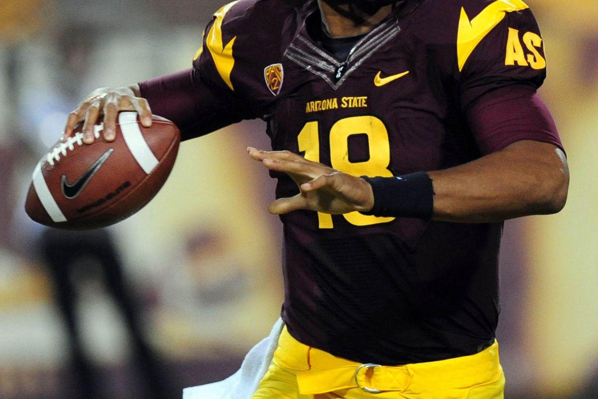 Aug. 30, 2012; Tempe, AZ, USA; Arizona State quarterback Michael Eubank (18) throws a pass in the third quarter against Northern Arizona at Sun Devil Stadium. Mandatory Credit: Jennifer Hilderbrand-US PRESSWIRE