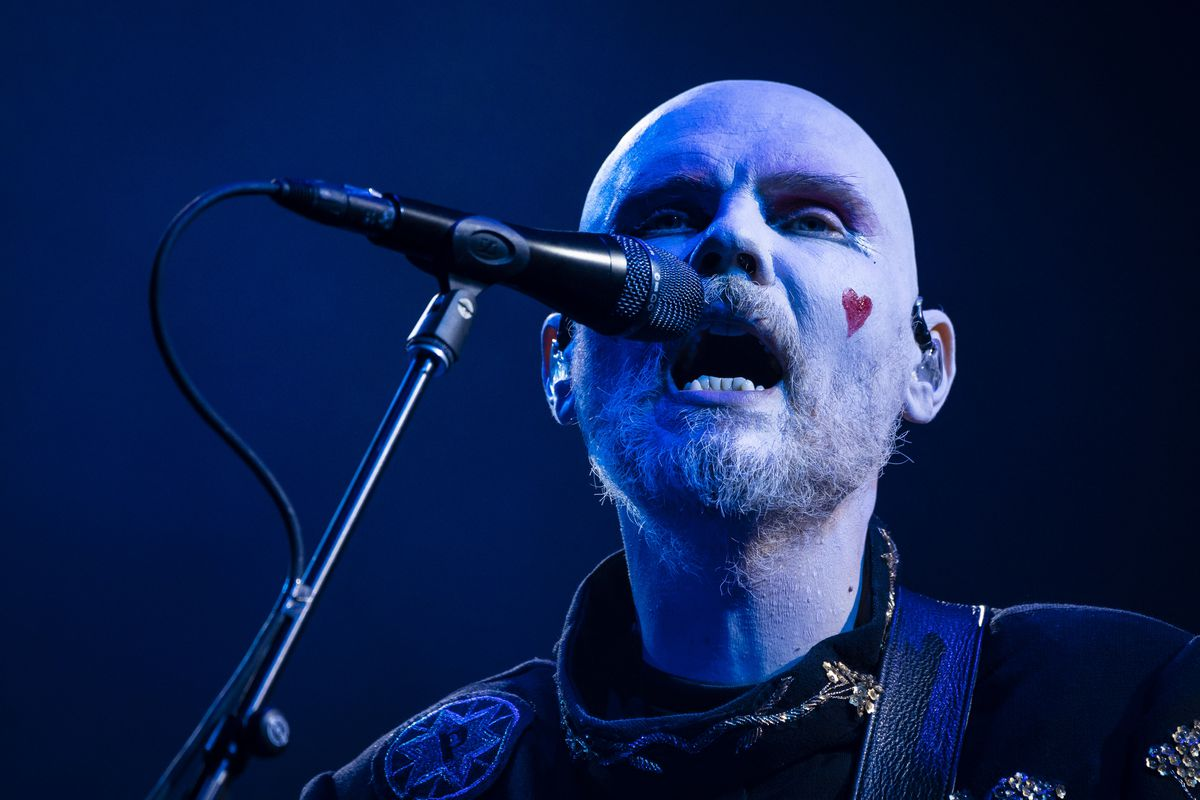 Billy Corgan leads the Smashing Pumpkins in their headlining set Friday night at Riot Fest in Douglass Park.