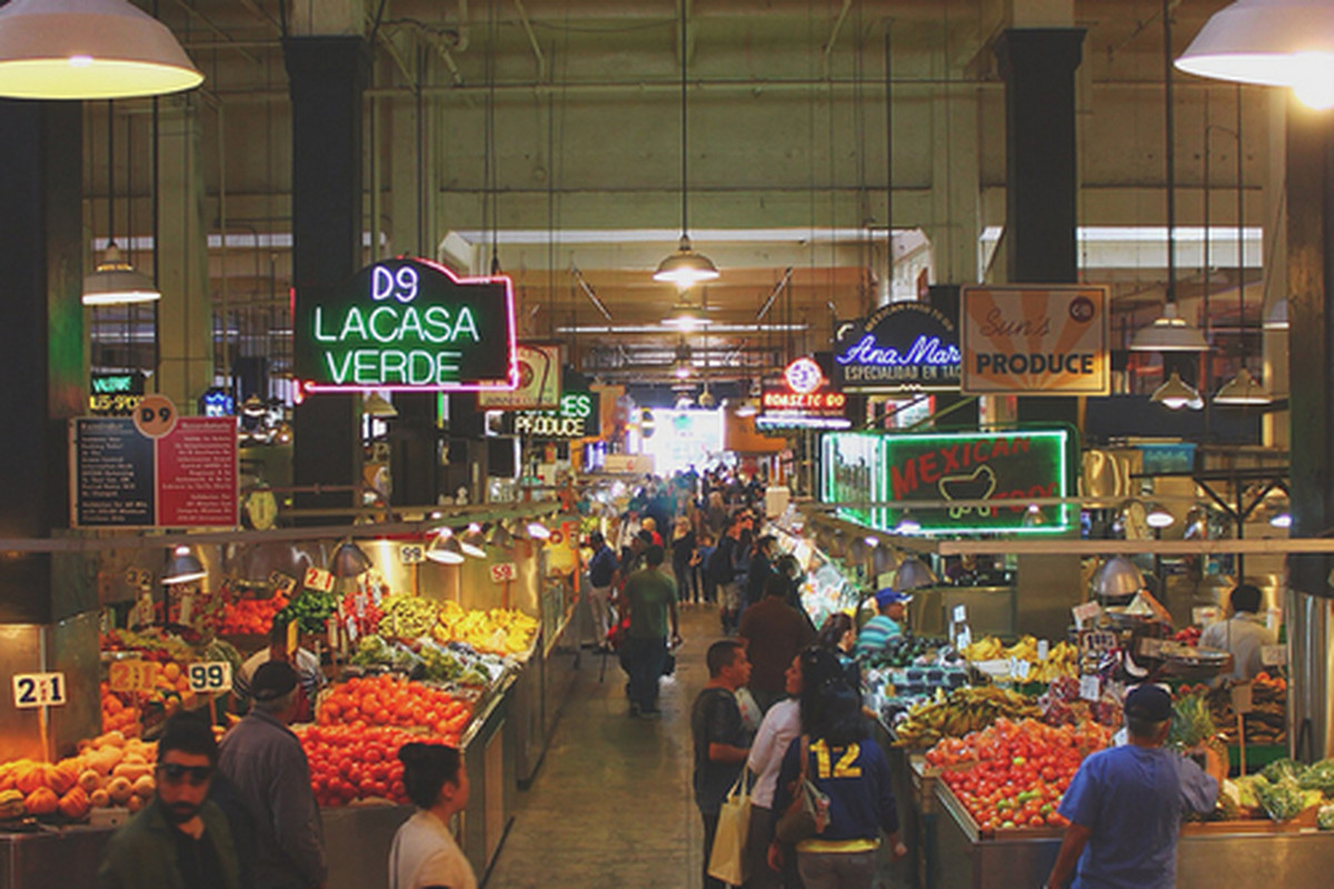 Inside Grand Central Market, Downtown.