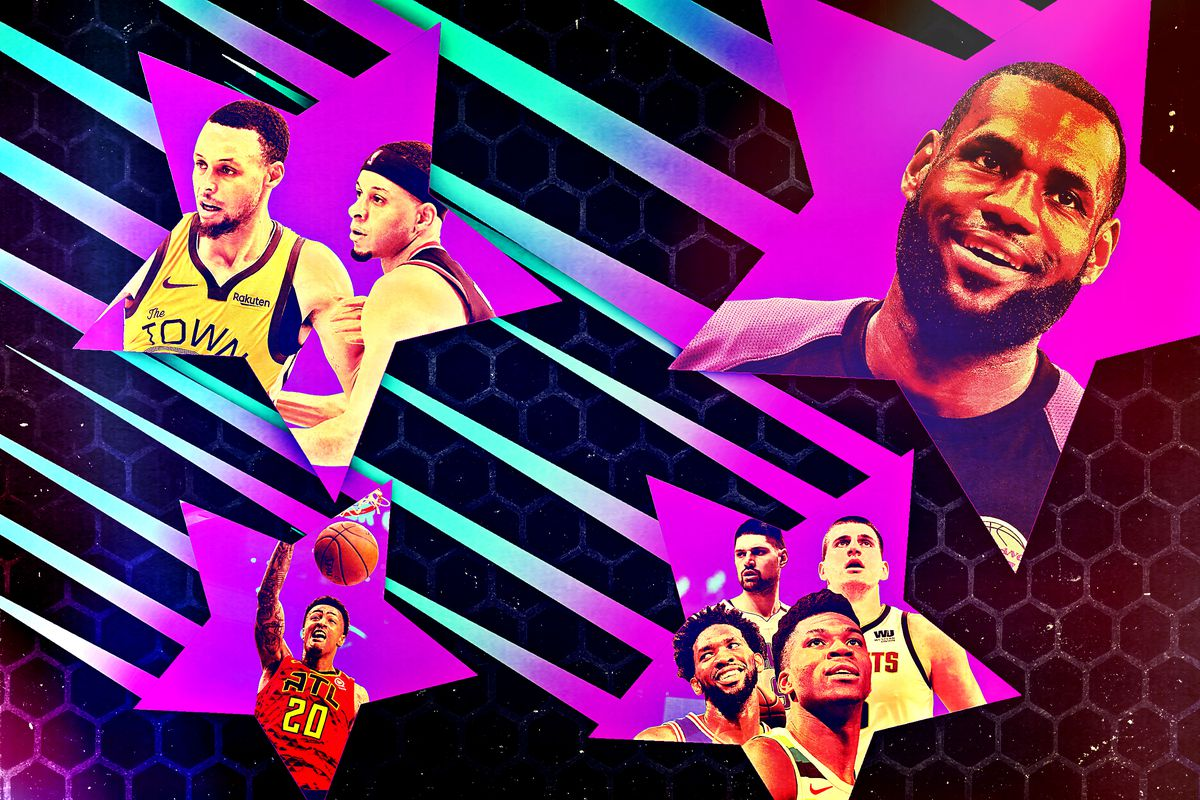 A collage of 2018-19 NBA All-Stars, including LeBron James