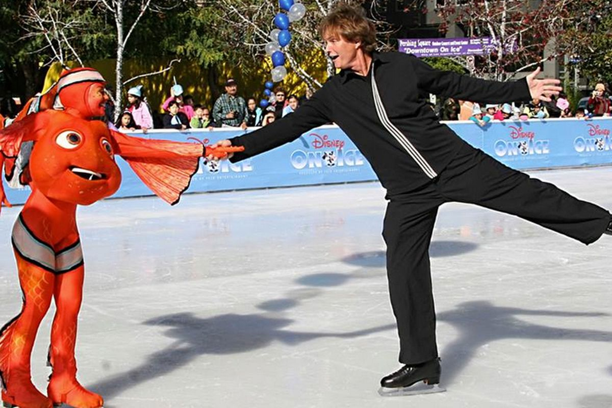 """Bruce Jenner and what we're assuming is a figure skater dressed as Nemo. Photo <a href=""""https://www.facebook.com/photo.php?fbid=190585501145110&amp;set=pb.158692357667758.-2207520000.1384478591.&amp;type=3&amp;theater"""">via</a>."""