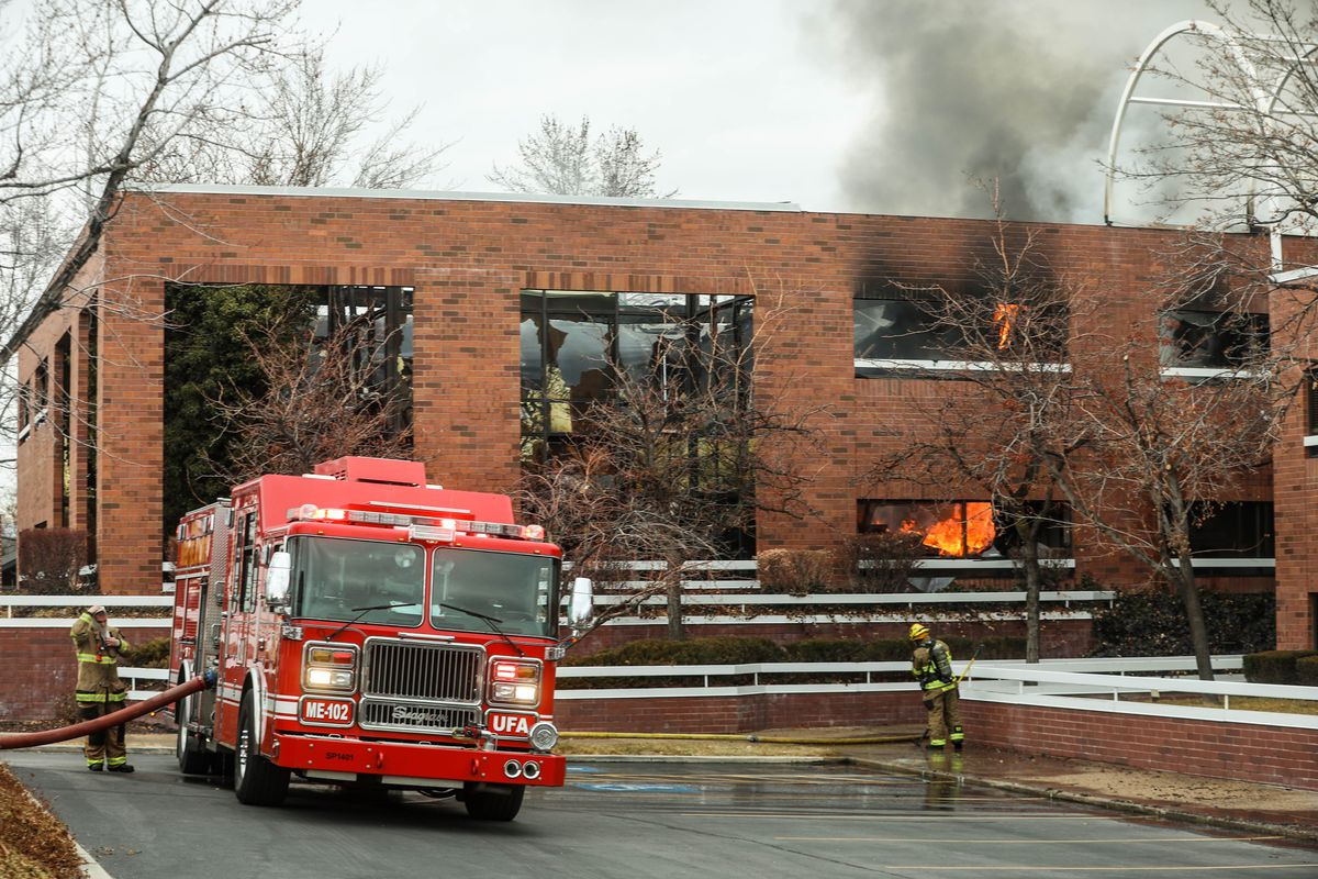 Unified Fire Authority crews work at the scene of a fire at Union Center offices at 7001 S. 900 East, Midvale, on Sunday, Jan. 17, 2021.