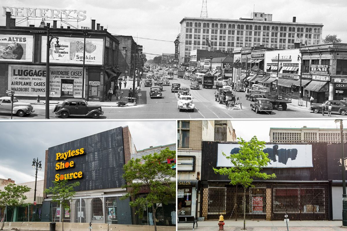 Woodward & Grand in the 1930s and images of faded storefronts today