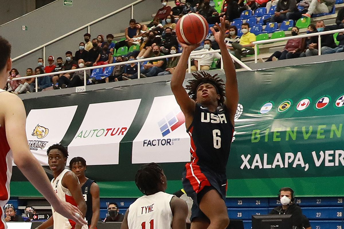 Jeremy Fears Jr. shoots against Canada last weekend in the FIBA Americas U16 semifinals in Xalapa, Mexico.
