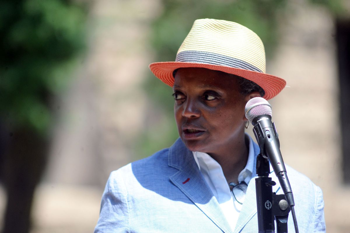 Mayor Lori Lightfoot speaks at Bughouse Square in Washington Square Park on the 100th anniversary of the start of Chicago's 1919 race riots.