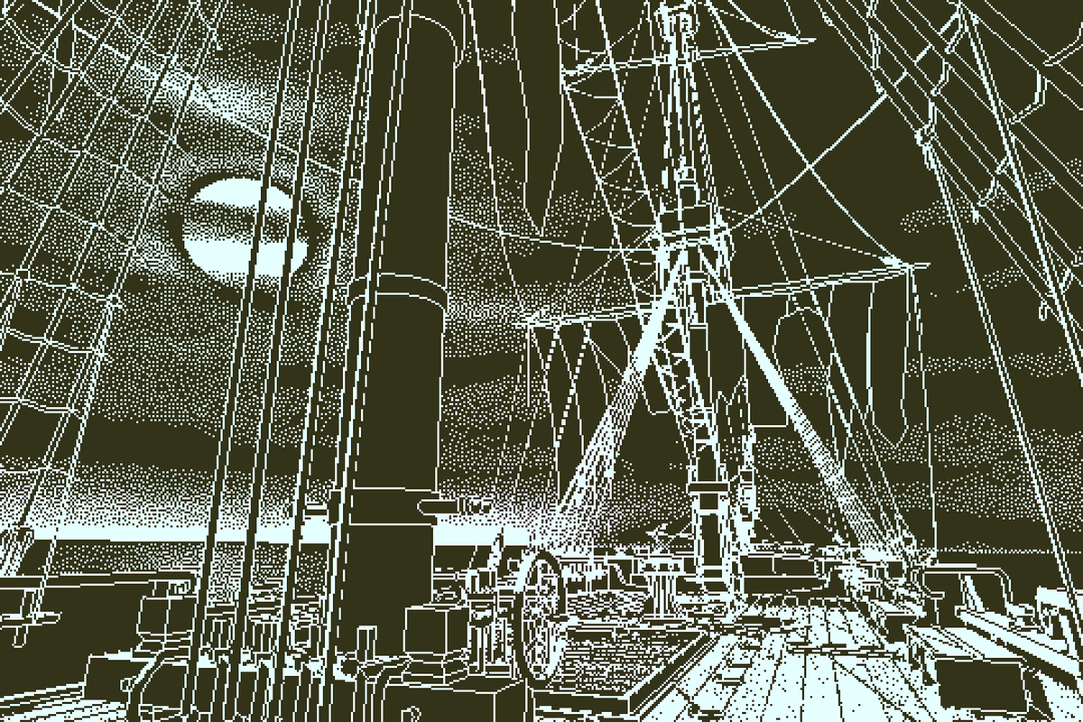 Return of the Obra Dinn - main deck with moon in the background