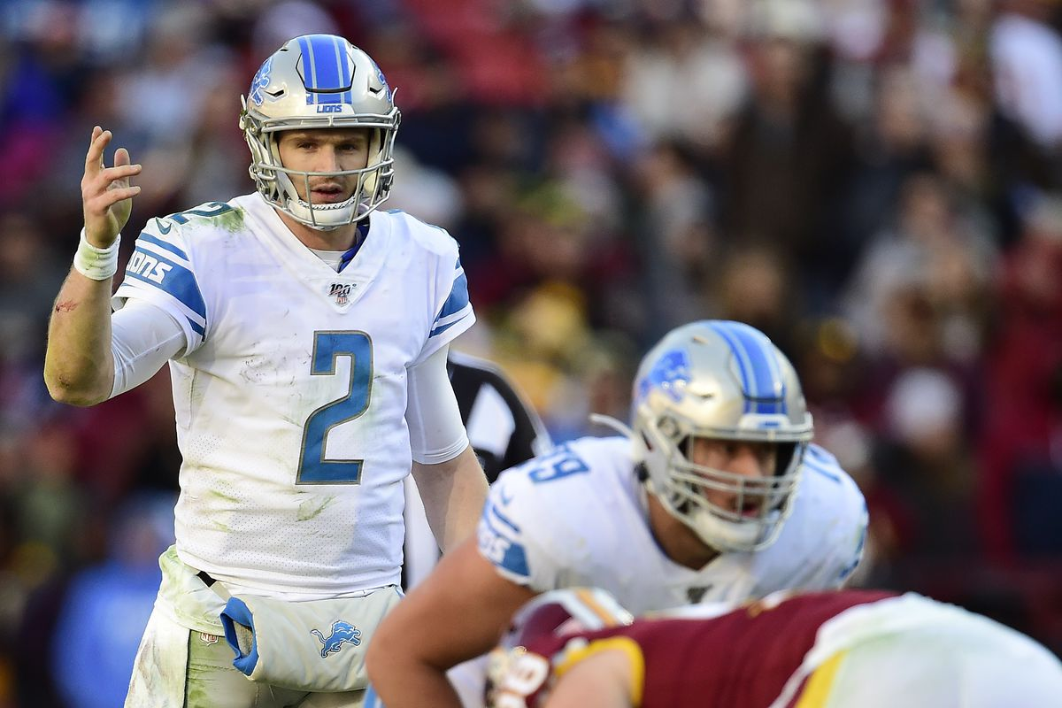 Jeff Driskel of the Detroit Lions signals before a play in the first half against Washington at FedExField on November 24, 2019 in Landover, Maryland.