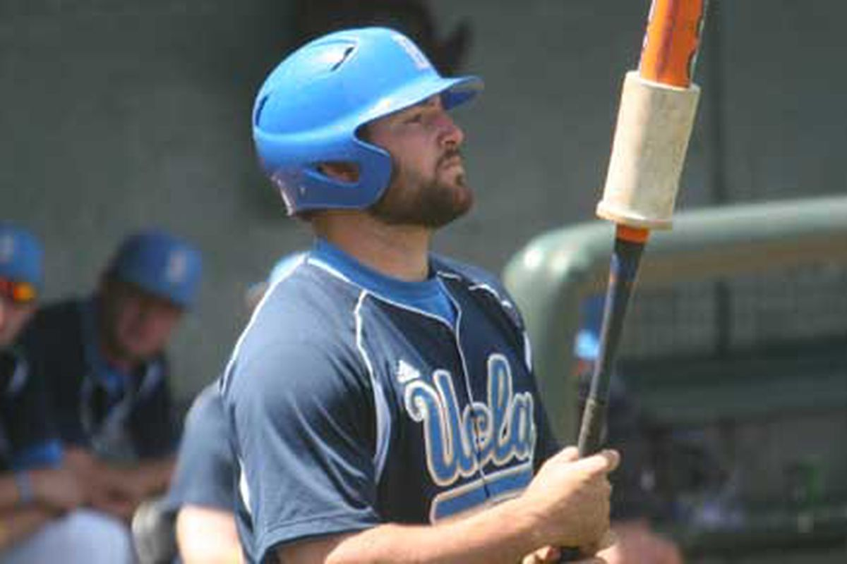 """Cody Decker, who has 20 homers on the year, will play his final games as a Bruin in Tempe via <a href=""""http://collegebaseballtoday.com/wp-content/uploads/ucla-codydeckerbeard.jpg"""">collegebaseballtoday.com</a>"""