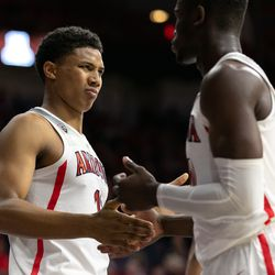 Arizona's Ira Lee makes a face after fouling during the Arizona-Western New Mexico University game in McKale Center on October 30 2018 in Tucson, Ariz.