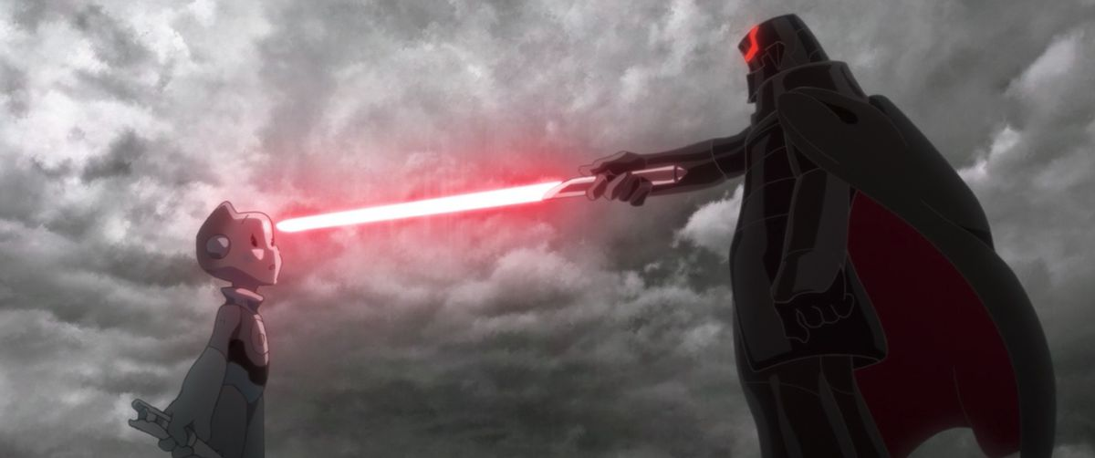 An inquisitor holds a lightsaber up to TO-B1 in Star Wars: Visions