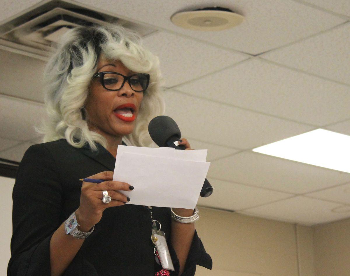 iZone chief Sharon Griffin speaks in Frayser.