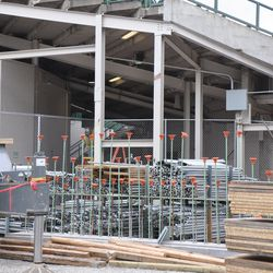 Chain link fences put up at the Gate R/VIP Gate area on Sheffield -