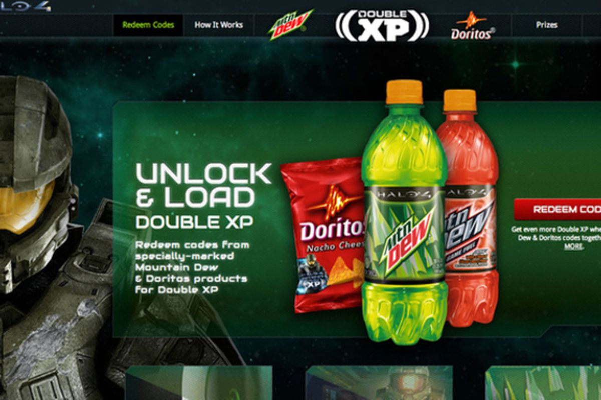 halo 4 partners with mountain dew and doritos for snack fueled