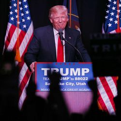 Donald Trump, the front-runner in the GOP presidential race, speaks at the Infinity Event Center in Salt Lake City on Friday, March 18, 2016.